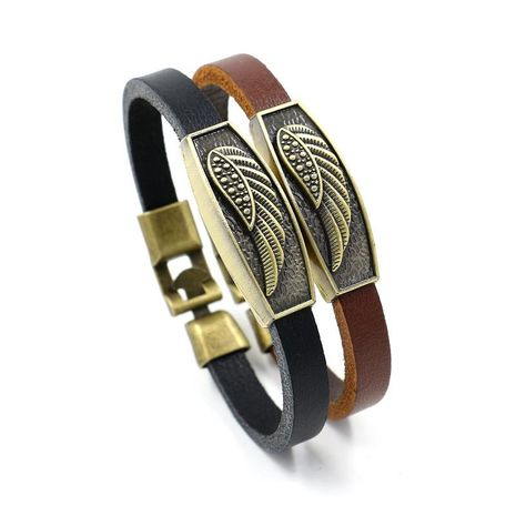 Vintage copper wings feather leather bracelet NHHM133015's discount tags