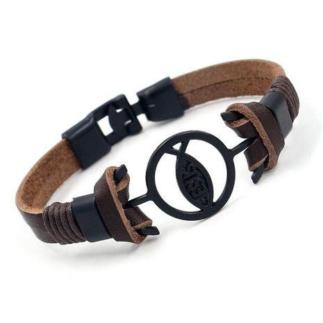 Black jesus fish woven leather bracelet NHHM133019's discount tags
