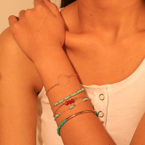 Fashion blue rice bead bracelet five-piece NHMD133020's discount tags