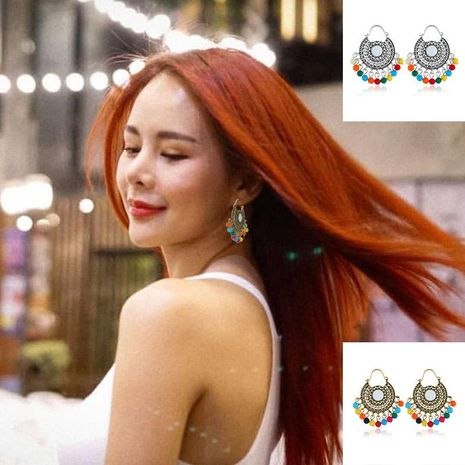 Vintage personality color round alloy earrings NHKQ133025's discount tags