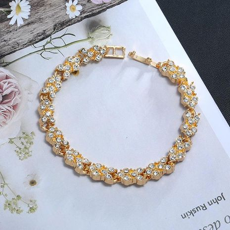 Beautifully engraved zircon plated 18K alloy bracelet NHKQ133040's discount tags