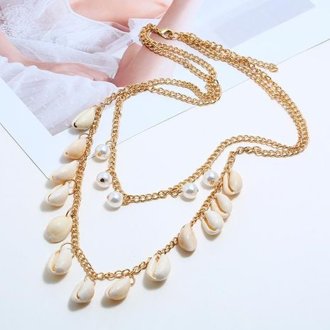 Fashionable natural shell alloy necklace NHKQ133057's discount tags