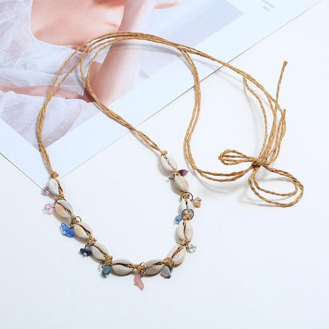 Bohemian shell hollow ocean wind multi-layer necklace NHKQ133059's discount tags