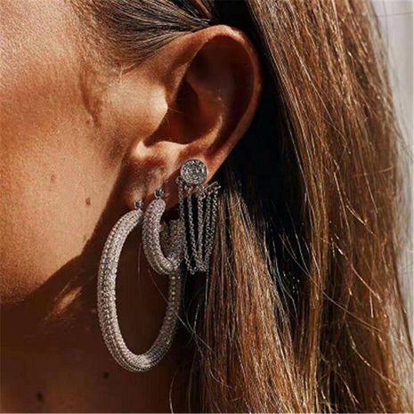 Fashion temperament explosion-plated alloy-plated micro-set rhinestone earrings NHYQ133060's discount tags