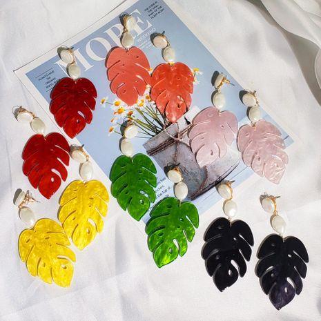 Fashion resin acrylic leaf earrings NHJJ133061's discount tags