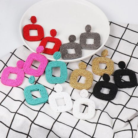 Rice beads geometric rectangular earrings NHJJ133063's discount tags
