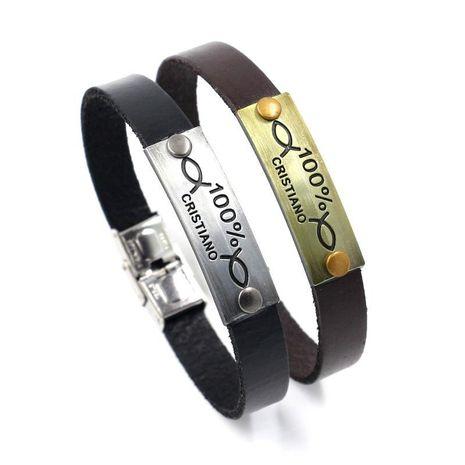 Sleek minimalist stainless steel buckle bracelet NHHM133064's discount tags