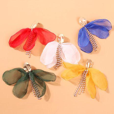 Long Sen light gauze petals tassel earrings NHMD133071's discount tags
