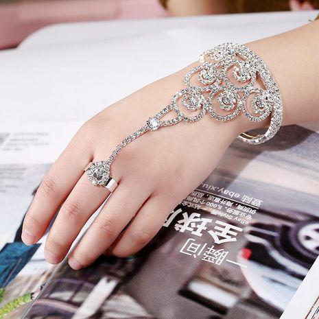 Fashion Rhinestone Stud Full Rhinestone Bracelet Ring One Chain NHKQ133075's discount tags