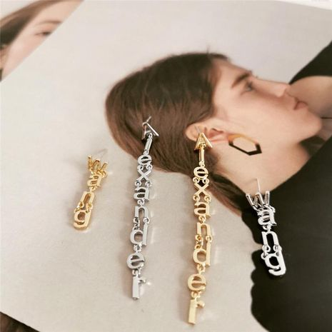 Creative long temperament letter tassel simple earrings NHYQ133076's discount tags