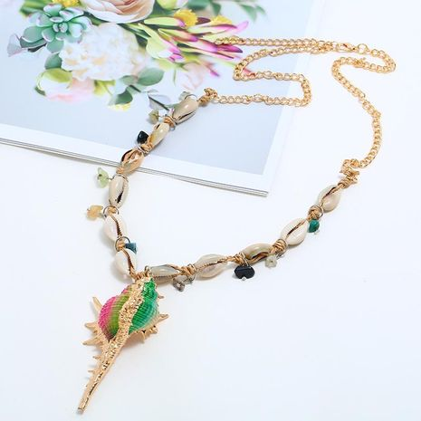Handmade natural conch shell alloy necklace NHKQ133078's discount tags