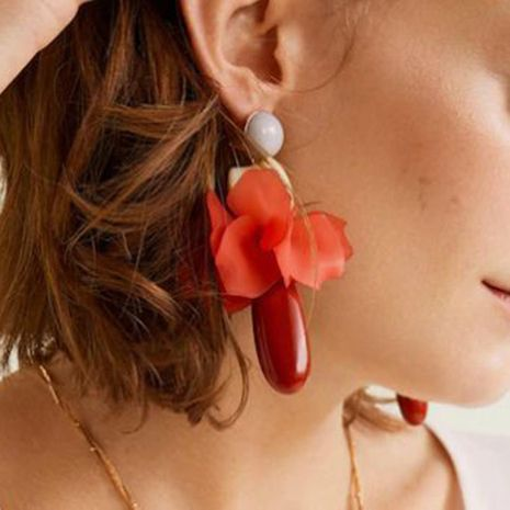 Temperament resin frosted petal flower tassel earrings NHMD133079's discount tags