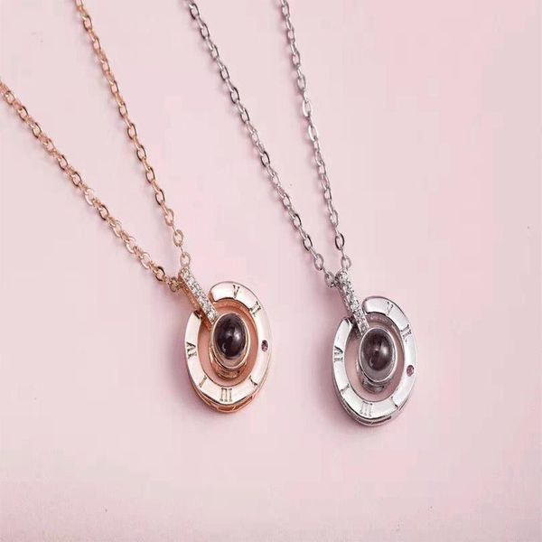 Fashion love memory 100 languages I love you necklace NHKQ133087