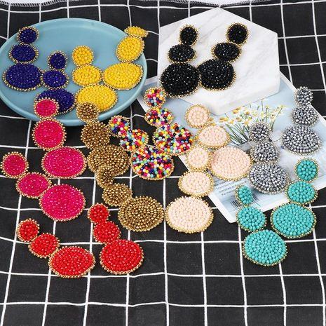 Exaggerated long circle handmade bohemian earrings NHJJ133095's discount tags