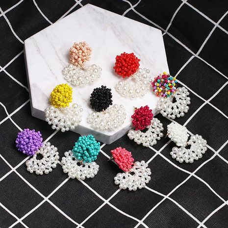 Hand-woven flower rice beads earrings NHJJ133096's discount tags