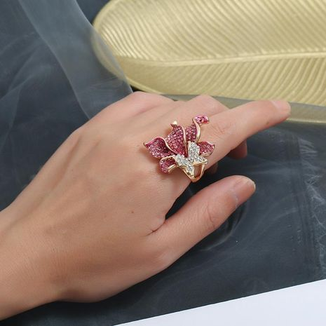 Explosive floral color rhinestone gilded inlaid gemstone ring NHKQ133101's discount tags