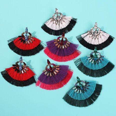 Trend double tassel-studded long alloy earrings NHMD133106's discount tags