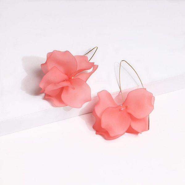 Stylish sweet acrylic flower alloy earrings NHJJ133107