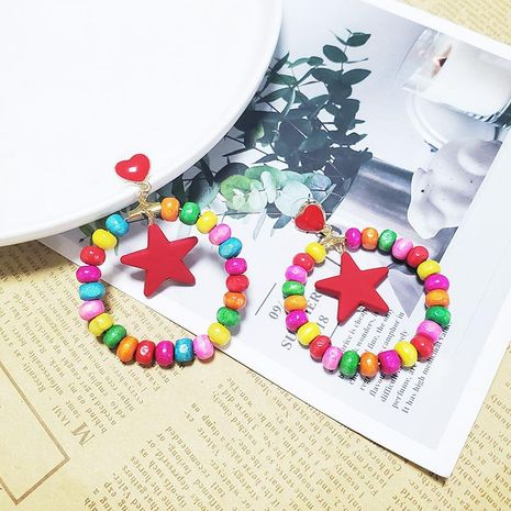 Ethnic style wooden colored geometric heart-shaped five-pointed star earrings NHJJ133120's discount tags