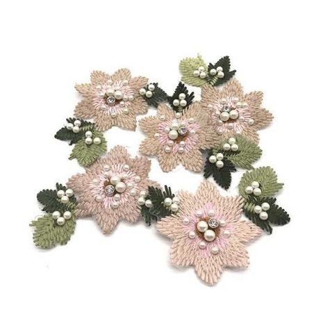 Embroidered beaded small flowers decorative applique cloth patch stickers NHLT133127's discount tags