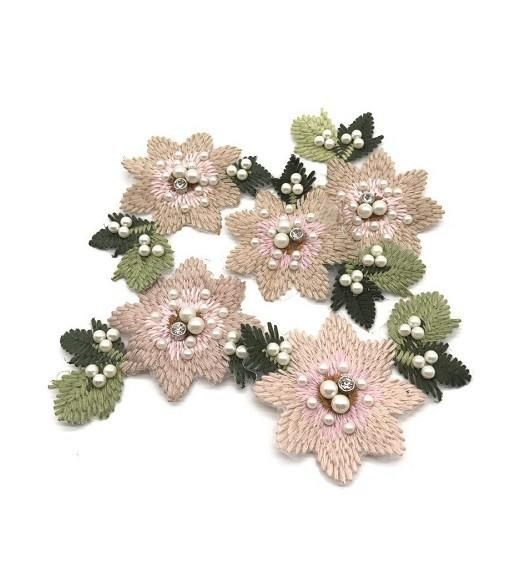 Embroidered beaded small flowers decorative applique cloth patch stickers NHLT133127