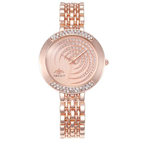Fashion simple alloy full rhinestone dial steel belt watch NHHK133187's discount tags