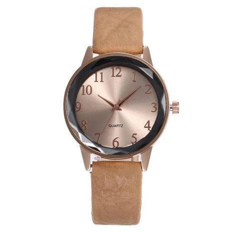 Fashion casual Arabic numerals simple belt prismatic glass quartz watch NHHK133193's discount tags