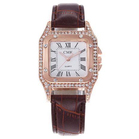Fashion full rhinestone square shell Roman scale quartz belt watch NHHK133196's discount tags
