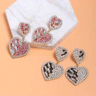 Fashion Women Rhinestone Heart Shaped Su Earrings NHJJ133626's discount tags