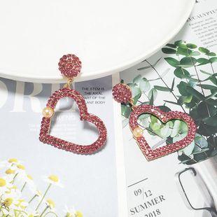 Fashion women rhinestone heart-shaped earrings NHJJ133652's discount tags