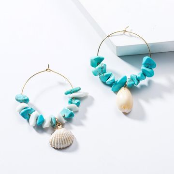Fashion Women Turquoise Shell Earrings NHJE133661