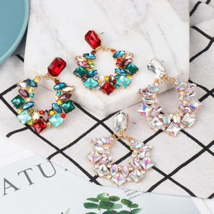 Fashion Women colored gemstone Round Earrings NHJJ133677's discount tags
