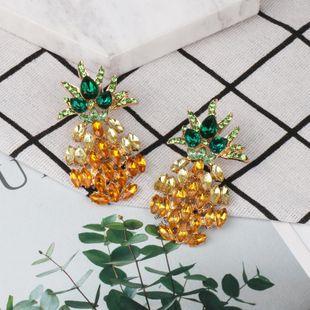 Fashion Women Rhinestone Pineapple Earrings NHJJ133679's discount tags