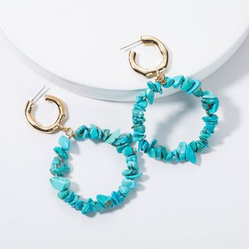 Fashion women turquoise ring earrings NHJE133690
