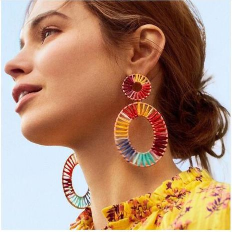 Fashion women hand-woven round earrings NHJJ133694's discount tags