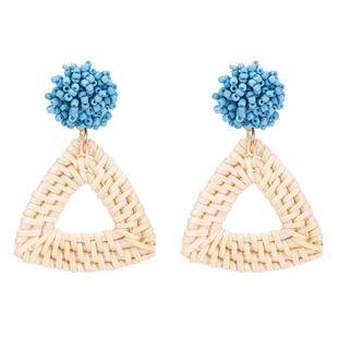 Fashion Women Beads Vineyard Triangle Earrings NHJE133723's discount tags