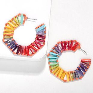 Fashion women Lafite hand-woven earrings multicolor NHJQ133728's discount tags