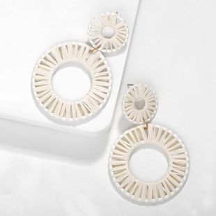 Fashion Women Lafite Woven Round Earrings NHJQ133751's discount tags