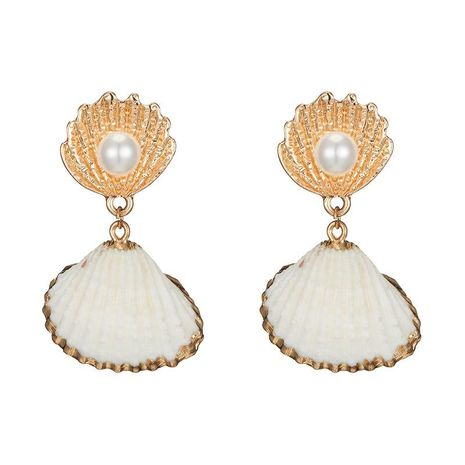Fashion Natural Beads Shell Earrings NHOT133853's discount tags
