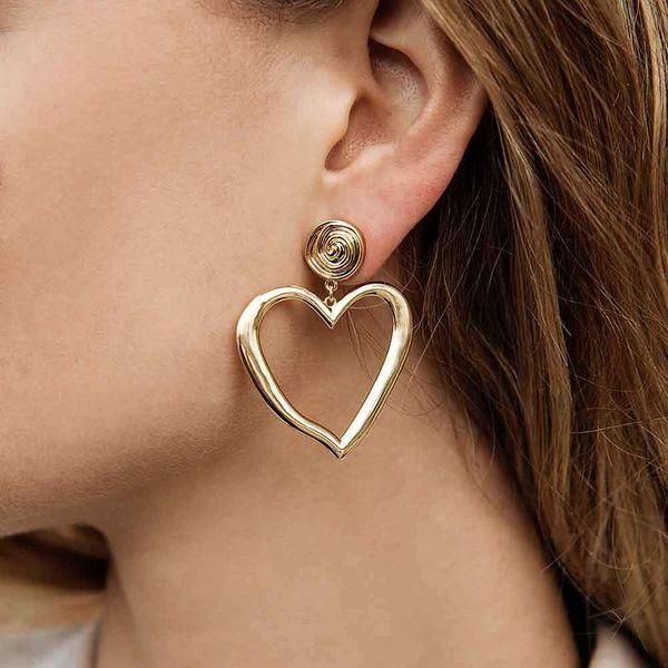 Fashion alloy-plated irregular love earrings NHOT133909