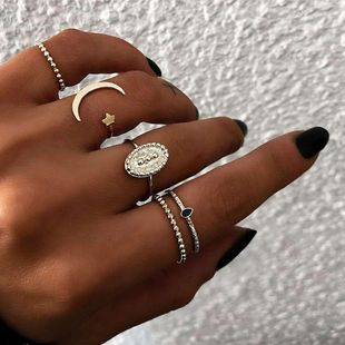Fashion Moon Star Ring 5 Piece Set NHOT134022's discount tags