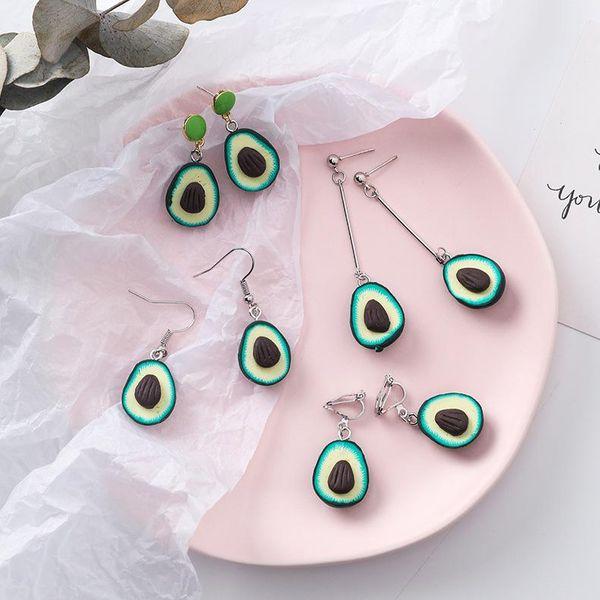 Personalized handmade resin avocado earrings NHMS134036
