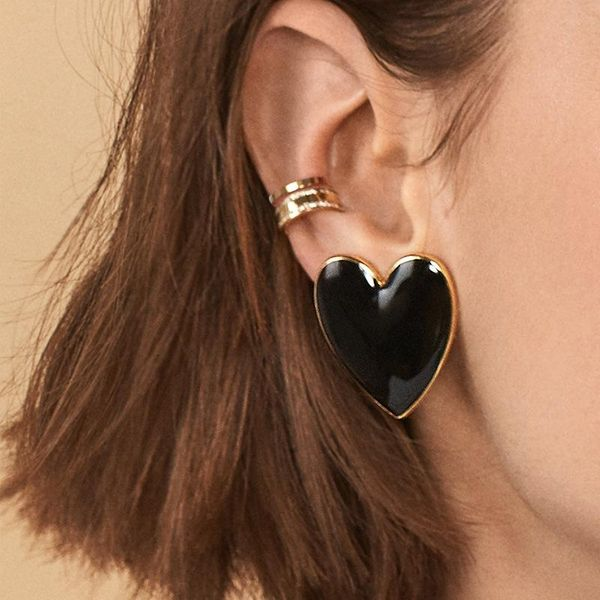 Womens Heart-Shaped Metallic Earrings NHOT134045