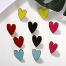 Fashion women alloy heart earrings multicolor NHJQ133786