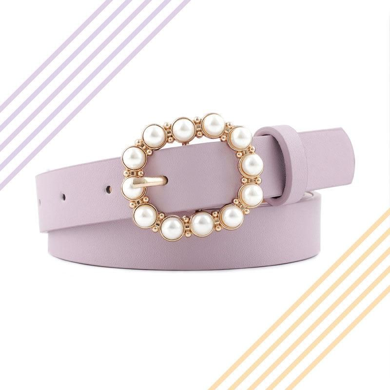 Fashion woman faux leather beads buckle belt strap for dress jeans black red purple NHPO134155
