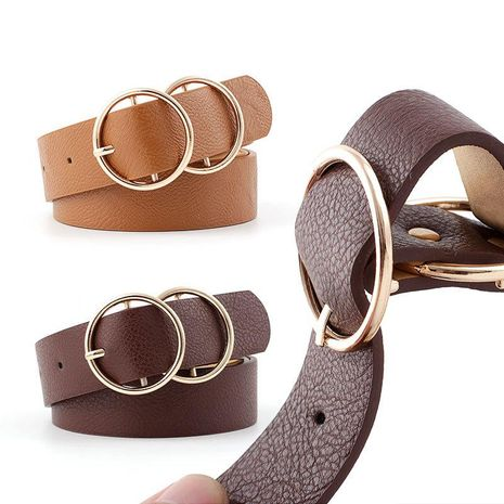 Fashion woman faux leather metal double round buckle belt strap for dress jeans NHPO134158's discount tags
