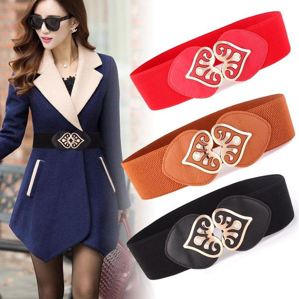 Fashion woman weave peach heart wide belt strap for jeans dress multicolor NHPO134162