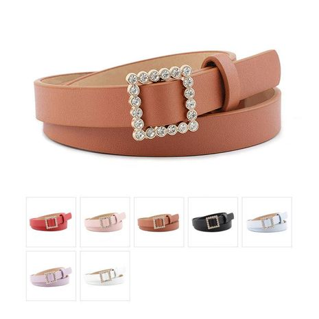 Fashion woman faux leather rhinestone square buckle thin belt strap for jeans dress multicolor NHPO134164's discount tags