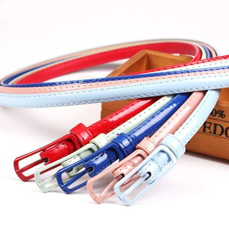 Fashion woman faux leather metal buckle thin belt strap for jeans dress candy color NHPO134170's discount tags