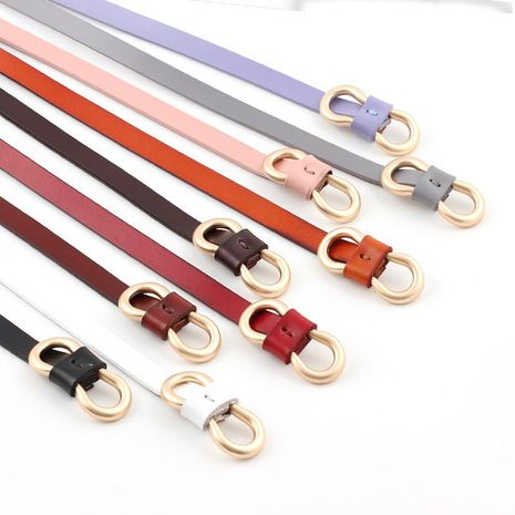Fashion woman leather metal buckle thin belt strap for jeans dress multicolor NHPO134171's discount tags